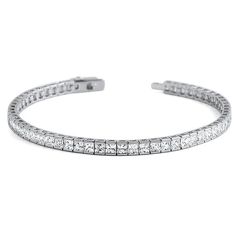 3mm Princess Cut Sterling Silver CZ Tennis Bracelet