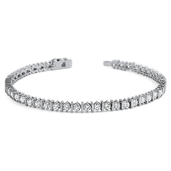Polished Bar Link Womens CZ Tennis Bracelet Silver