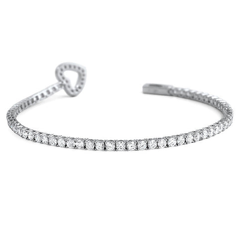 Sterling Silver CZ Tennis Bracelet With Heart Latch