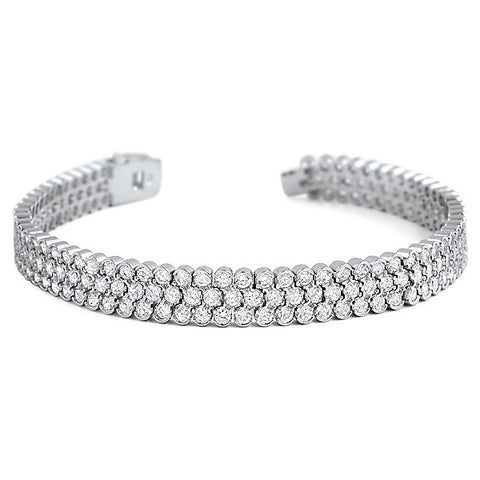 3 Row Silver Bezel Set Simulated Diamond Bracelet