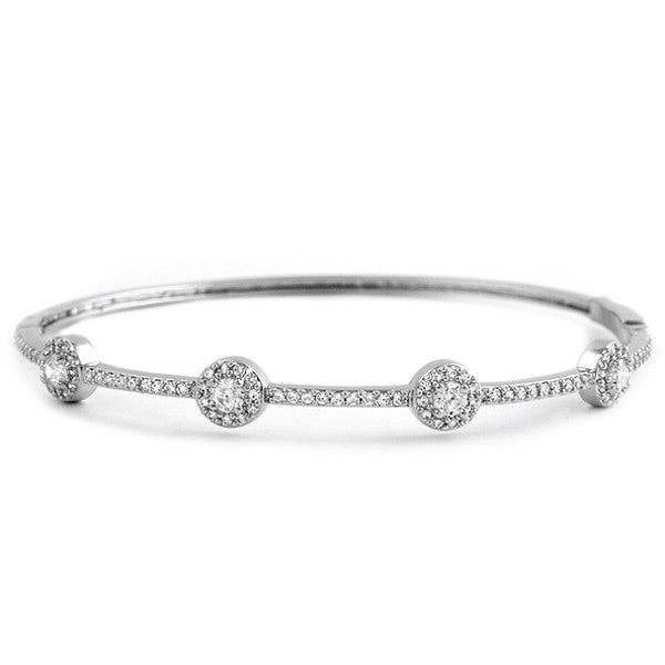 Sterling Silver Signity CZ 4 Halo Bangle