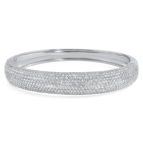 925 Silver Large Signity CZ Hinged Bangle