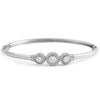 Classy 3 Halo Polished Sterling Silver Bangle