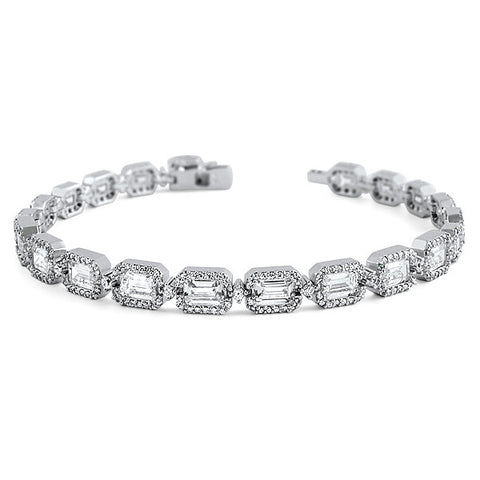 Fancy Emerald Cut Simulated Diamond Bracelet