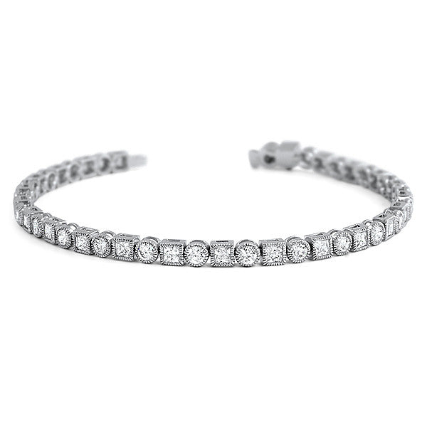 Princess and Round Bezel Set CZ Silver Bracelet