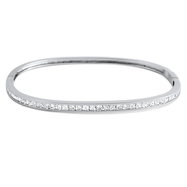 Princess Cut Channel Set Squared Oval Bangle