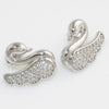 Sterling Silver Elegant Swan CZ Stud Earrings
