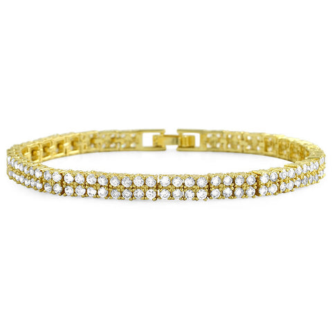 14k Gold Finish 5.40 CTW CZ 2 Row Bracelet