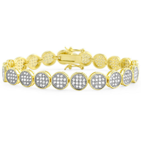 Gold Finish Micropave Button Link Bracelet