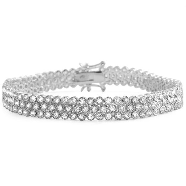 White Gold Finish Fancy 10 Carat CZ Bracelet