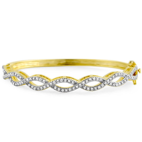 14k Gold Finish Criss Cross CZ Bangle