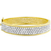 14.70 CTW  Large CZ Eternity Bangle Gold Tone