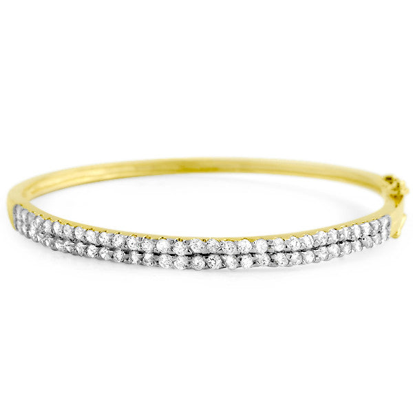 3 CTW AAA Cubic Zirconia Bangle Gold Tone