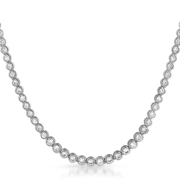Silver Tone Bezel Set Graduating CZ Necklace
