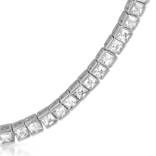43.68 CTW Silver Tone Princess Cut CZ Necklace