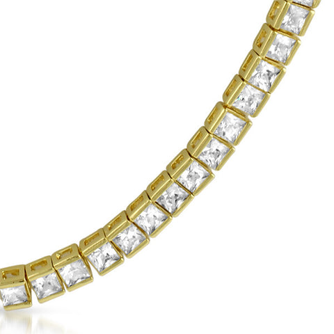 43.68 CTW Gold Tone Princess Cut CZ Necklace
