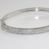 White Gold Finish 3 Row Micropave CZ Bangle