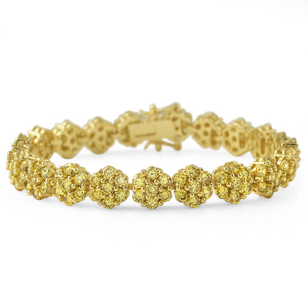 16.75 CTW Gold Canary CZ Flower Bracelet