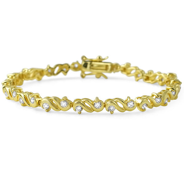 Gold Finish Fancy Cubic Zirconia Womens Bracelet