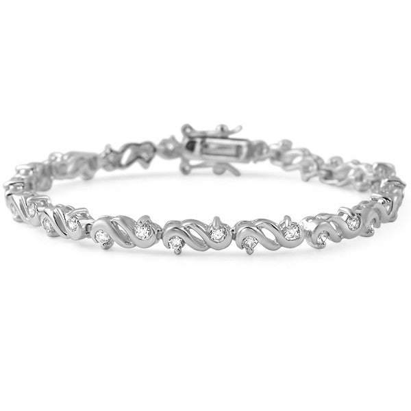 Silver Finish Fancy Cubic Zirconia Womens Bracelet