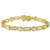 4.40 CTW Gold Tone Princess Cut CZ Bracelet