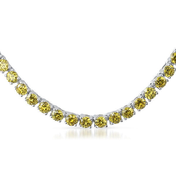 24 CTW Silver Tone Canary CZ Tennis Necklace