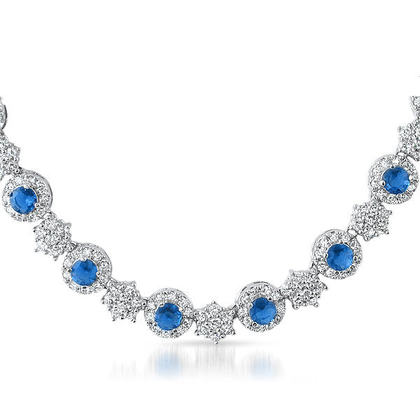 10.5 CTW Elegant Silver Tone Blue CZ Necklace