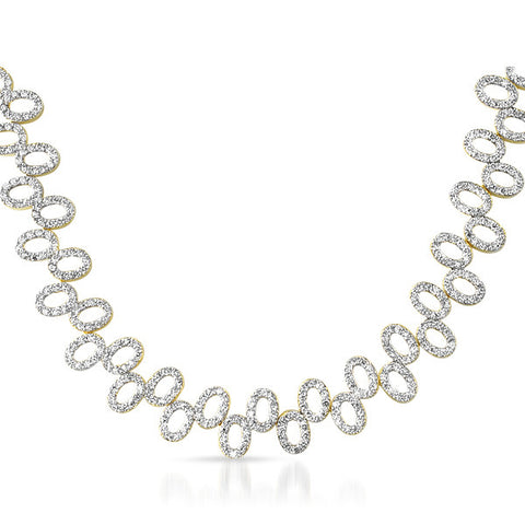 5.4 CTW Gold Tone CZ Wide Fashion Necklace