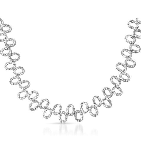 5.4 CTW Silver Tone CZ Wide Fashion Necklace