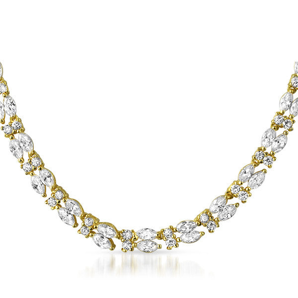 22 CTW Gold Tone Marquise Cut CZ Necklace