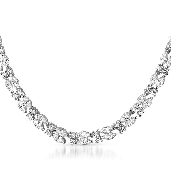 22 CTW Silver Tone Marquise Cut CZ Necklace