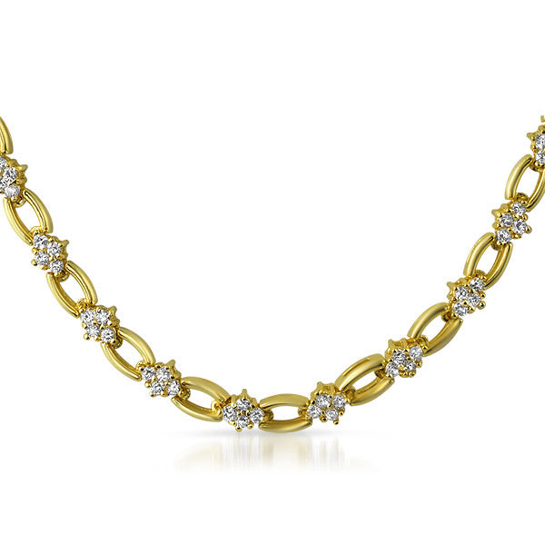 Gold Tone Cubic Zirconia Oval Link Necklace
