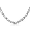 Silver Tone Cubic Zirconia Oval Link Necklace