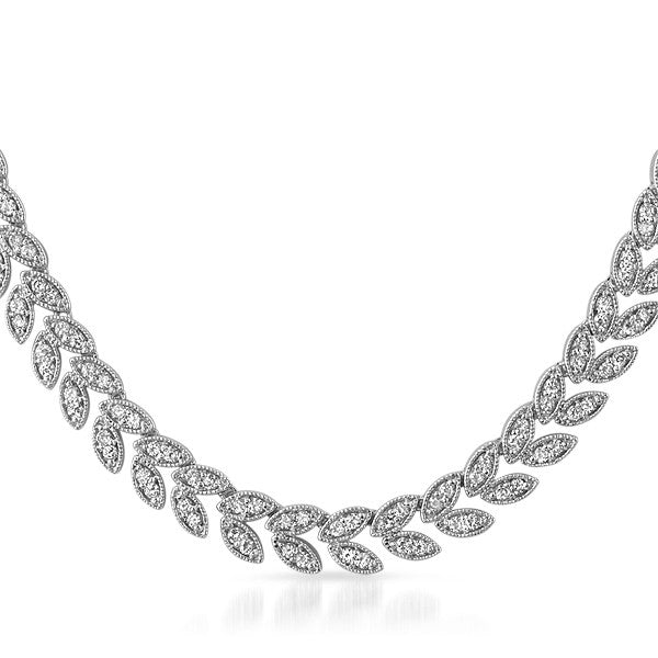 Silver Tone Cubic Zirconia Roman Wreath Necklace