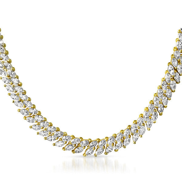 Gold Tone 2 Row Marquise Cut CZ Necklace