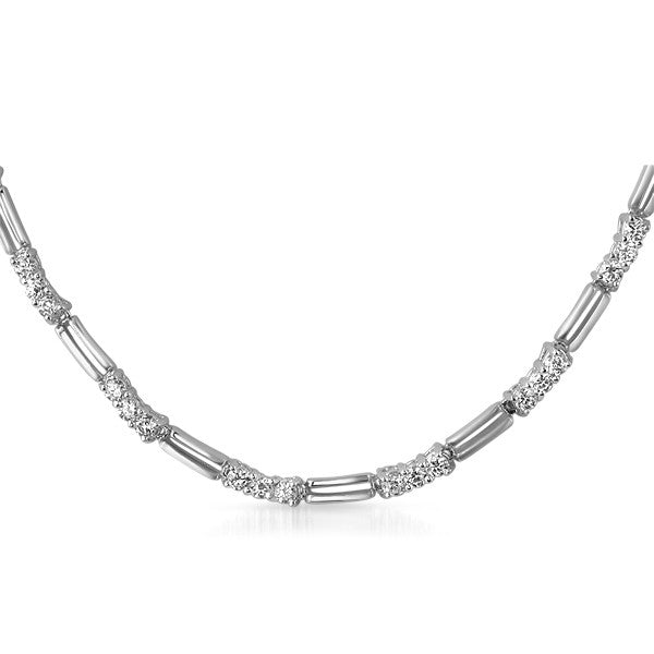 4.8 CTW Silver Tone CZ Fashion Necklace