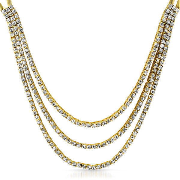 Gold Tone Fancy 3 Strand CZ Bridal Necklace