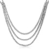 Silver Tone Fancy 3 Strand CZ Bridal Necklace