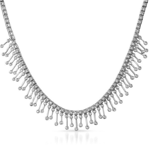 Silver Tone Fancy CZ Chandelier Necklace