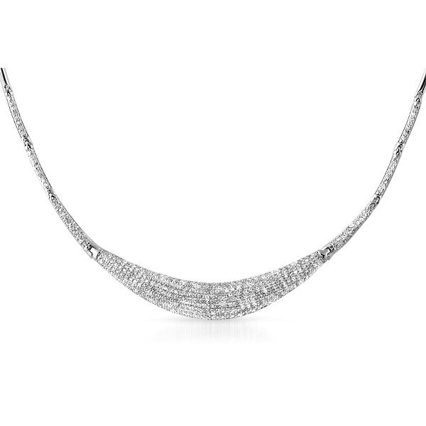 Silver Tone CZ Micropave Evening Necklace