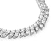 Silver Tone 2 Row Marquise Cut CZ Necklace