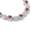 10.5 CTW Elegant Silver Tone Red CZ Necklace