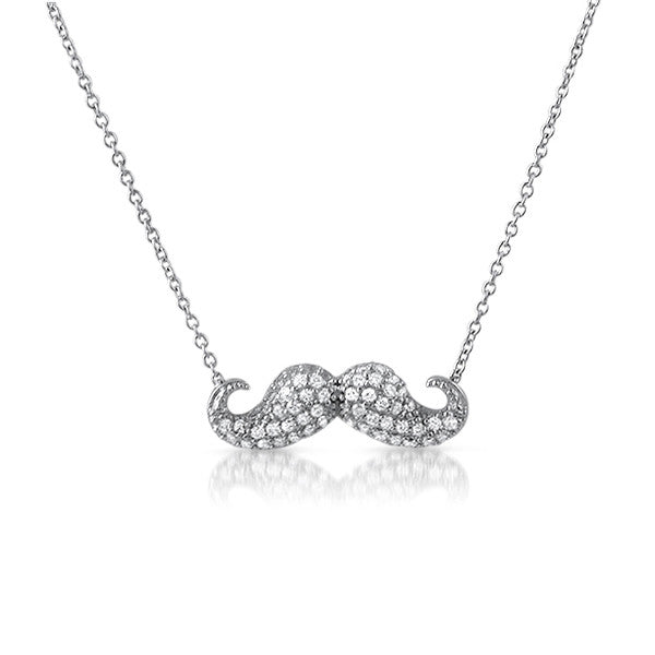 Silver Micropave CZ Mustache Necklace
