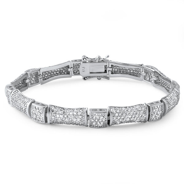 Bamboo Link Micropave Fashion Bracelet Silver Tone