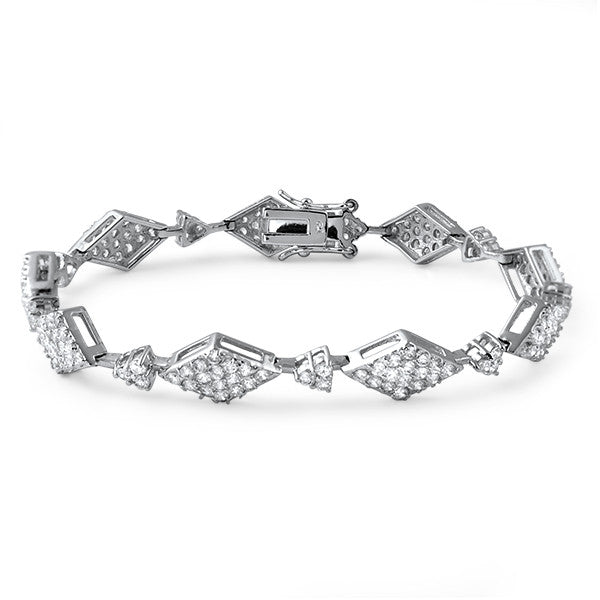 Silver Tone Diamond Shape CZ Fashion Bracelet