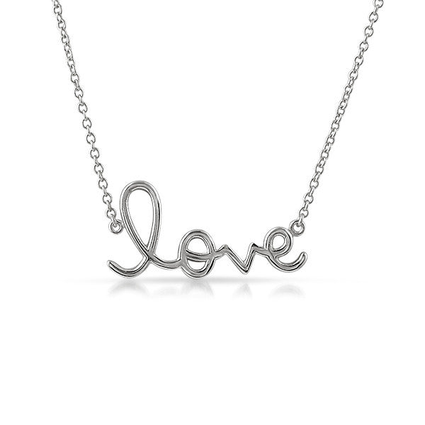 925 Silver Love Script Minimalist Necklace