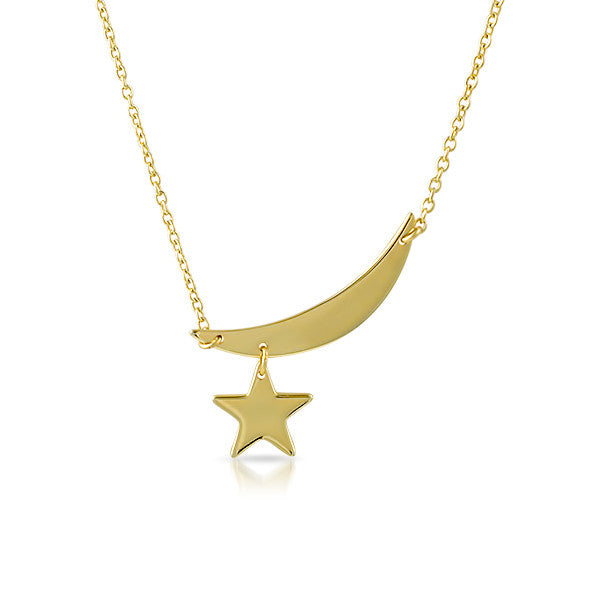 Gold Plated Moon and Star Minimalist Necklace