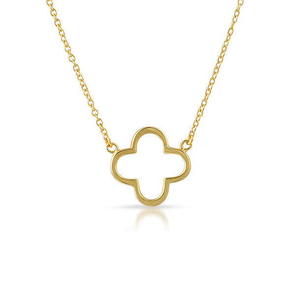 Gold Finish Hollow Flower Minimalist Necklace