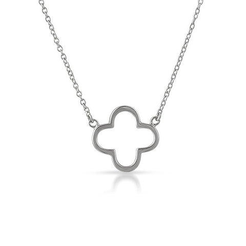 925 Silver Hollow Flower Minimalist Necklace