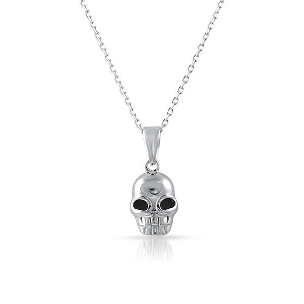 Sterling Silver Mini Skull Necklace Set